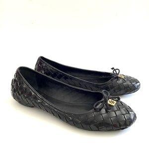 TORY BURCH PRESCOT woven patent leather flats 8M